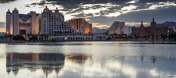 Evening view on  hotels of Eilat Stock Photography