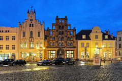 Evening view of the house Alter Schwede Old Swede in Wismar, Germany Royalty Free Stock Photos
