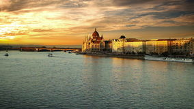 Evening view on the Hungarian Parliament in Budapest stock video