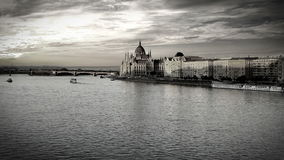 Evening view on the Hungarian Parliament in Budapest stock footage