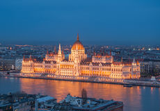 Evening view of the Hungarian Parliament Building on the bank of the Danube in Budapest, Hungary.  Royalty Free Stock Photo