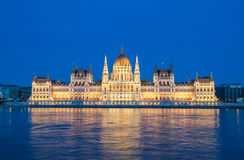 Evening view of the Hungarian Parliament Building on the bank of the Danube in Budapest, Hungary Stock Photography