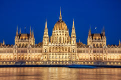 Evening view of the Hungarian Parliament Building on the bank of the Danube in Budapest, Hungary Royalty Free Stock Photography