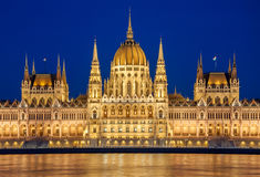 Evening view of the Hungarian Parliament Building on the bank of the Danube in Budapest, Hungary Stock Images