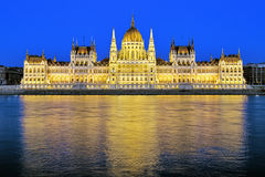 Evening view of the Hungarian Parliament Building in Budapest Royalty Free Stock Images