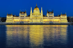 Evening view of the Hungarian Parliament Building in Budapest Royalty Free Stock Image