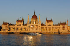 Evening view of the illuminated building of the Hungarian Parliament in Budapest. Royalty Free Stock Photos