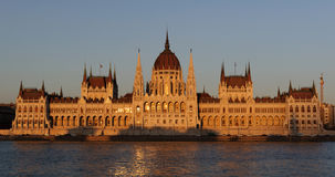 Evening view of the illuminated building of the Hungarian Parliament in Budapest. Stock Images