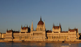 Evening view of the illuminated building of the Hungarian Parliament in Budapest. Stock Photography