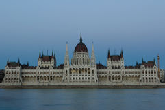 Evening view of the illuminated building of the Hungarian Parliament in Budapest. Royalty Free Stock Photo