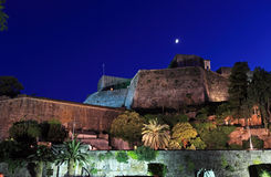Evening View of Illuminated New Fortress, Corfu, Greece Stock Image