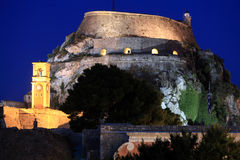Evening View of Illuminated Old fortress, Corfu, Greece Royalty Free Stock Photo