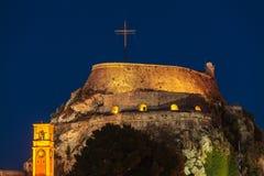 Evening view of illuminated  Old fortress, Corfu i Royalty Free Stock Image
