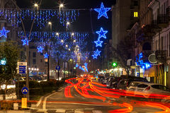 Evening view of illuminated street. Royalty Free Stock Images