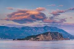 Island in Budva. Evening view on Island of Saint Nicholas in Budva, Montenegro Royalty Free Stock Photography