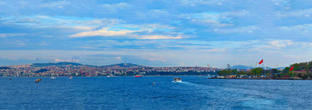 Evening view of Istanbul from the Galata Bridge Royalty Free Stock Photos
