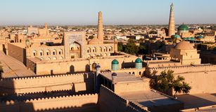 Evening view of Khiva. (Chiva, Heva, Xiva, Chiwa, Khiveh) - Xorazm Province - Uzbekistan - Town on the silk road royalty free stock images