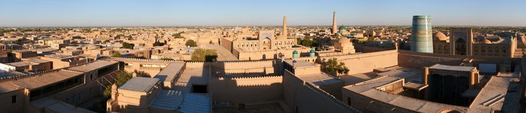 Evening view of Khiva. (Chiva, Heva, Xiva, Chiwa, Khiveh) - Xorazm Province - Uzbekistan - Town on the silk road royalty free stock photography