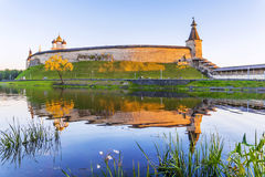 Evening view of the Kremlin in Pskov, Russia stock photos