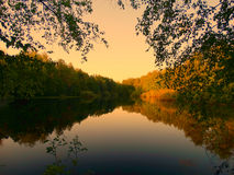 Evening view of the lake. Nature spring nature silence calmness recreation nobody Stock Photos