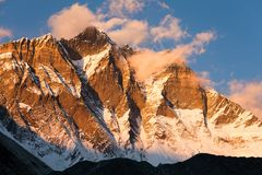 Evening view of Lhotse and clouds on the top Stock Photo