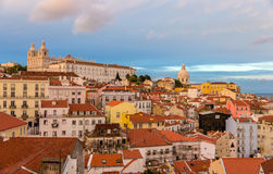 Evening view of Lisbon, Portugal Royalty Free Stock Photo