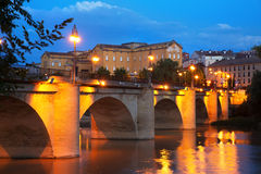 Evening view of Logrono. Puente da Piedra Stock Images