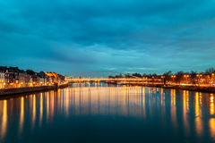 Evening view at the Maas river in the Dutch city of Maastricht Stock Image