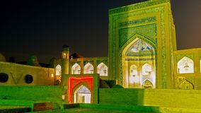 Evening view. The evening view on the madrassah of Khodjamberdy-biy, that is the part of large architectural complex also including old mosque, Madrassah of stock video