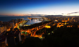 Evening view of  Malaga Royalty Free Stock Images
