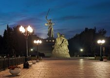Evening view of Mamayev Kurgan in Volgograd, Russia. Volgograd, Russia. Evening view of Mamayev Kurgan with memorial complex commemorating the Battle of royalty free stock image