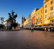 An evening view of the Market Square in Krakow, Poland Stock Image