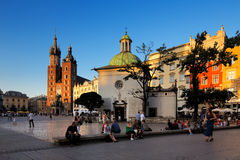 An evening view of the Market Square in Krakow, Poland Royalty Free Stock Image