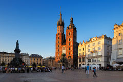 An evening view of the Market Square in Krakow, Poland Stock Photos