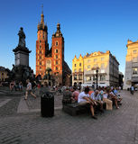 An evening view of the Market Square in Krakow, Poland Stock Photography