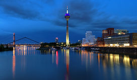 Evening view of the Media Harbor in Dusseldorf Royalty Free Stock Photo