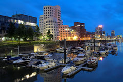 Evening view of Media Harbor with Neuer Zollhof buildings, Dusseldorf Stock Images