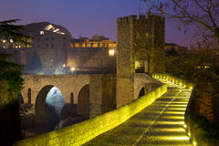 Evening view of medieval bridge at Besalu. Catalonia Royalty Free Stock Images