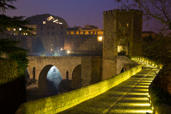 Evening view of medieval bridge  at Besalu Stock Photography