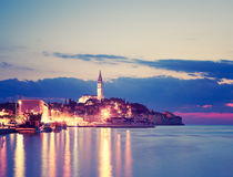 Evening View of Medieval Town Rovinj in Croatia Royalty Free Stock Images
