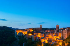Evening view of Sorano, Tuscany, Italy. Evening view of the medieval town Sorano, Tuscany, Italy Royalty Free Stock Photos