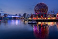 Evening view of modern building in Vancouver stock photos