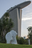 Evening view of the modern hotel Marina Bay Sands Stock Photo