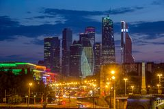 Evening view of Moscow City. Business center Moscow City evening view royalty free stock images