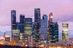 Evening view of the Moscow International Business Center Moscow-City, Russia. Many companies and headquarters reside here. Evening view of the Moscow Royalty Free Stock Images