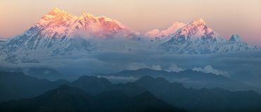 Evening view of mount Annapurna Stock Images