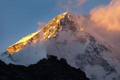 Evening view of mount Cho oyu from Gokyo Ri Stock Photos