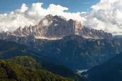 Evening view of Mount Civetta from Col di Lana Royalty Free Stock Photos