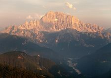 Evening view of Mount Civetta in Italien Dolomites Stock Photo