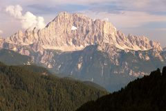 Evening view of Mount Civetta Stock Photo